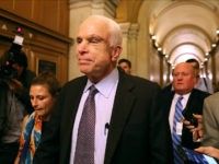 WASHINGTON, DC - JULY 28: Sen. John McCain (R-AZ) leaves the the Senate chamber at the U.S. Capitol after voting on the GOP 'Skinny Repeal' health care bill on July 28, 2017 in Washington, DC. Three Senate Republicans voted no to block a stripped-down, or 'Skinny Repeal,' version of Obamacare …