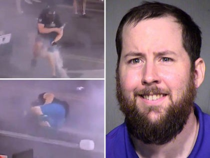 Joshua Cobin mugshot. Cobin was the star of a viral video wherein he was seen getting hit in the groin with a pepper ball fired by police after President Trump's rally in Phoenix, AZ.
