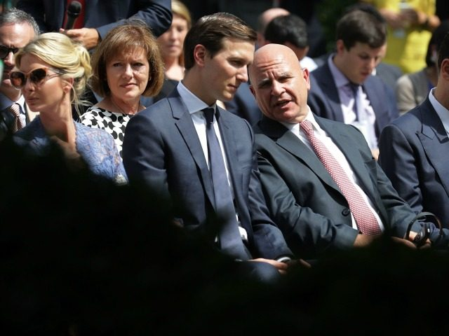 President Donald Trump's daughter Ivanka Trump, Senior Advisor to the President and son-in-law Jared Kushner, National Security Advisor H.R. McMaster and Treasury Secretary Steven Mnuchin wait for the start of a news conference with Trump and Lebanese Prime Minister Saad Hariri in the Rose Garden at the White House July …