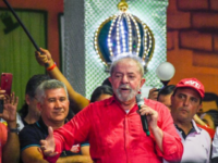 Former Brazilian President, Luiz Inacio Lula da Silva (red shirt) participates in a congress of the Unified Workers Central (CUT) in Rio in August 2017