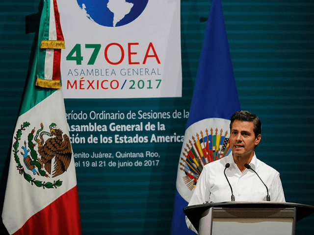 Mexico's President Enrique Pena Nieto speaks during the opening of the 2017 General Assembly of the Organization of the American States in Cancun, Mexico, on June 19, 2017.