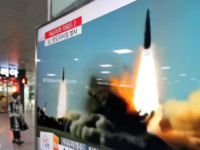 FILE - In this March 10, 2016, file photo, a TV screen shows a file footage of the missile launch conducted by North Korea, at Seoul Railway Station in Seoul, South Korea. Three North Korea short range ballistic missiles failed on Saturday, Aug. 26, 2017, a temporary blow to Pyongyang's …