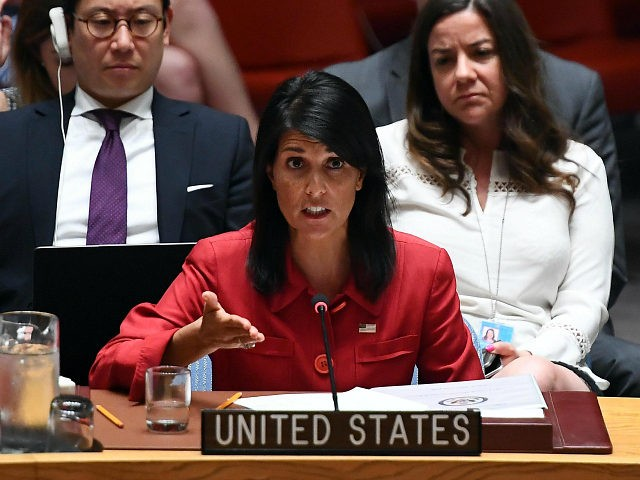 US Ambassador to the United Nations Nikki Haley speaks during a Security Council meeting on North Korea at the UN headquarters in New York on July 5, 2017. The United States will present to the UN Security Council a new draft resolution imposing sanctions on North Korea after it launched …