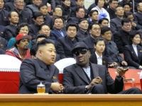 Kim Jong Un and Dennis Rodman discuss the issues of the day. (KCNA/AFP/GETTY IMAGES)
