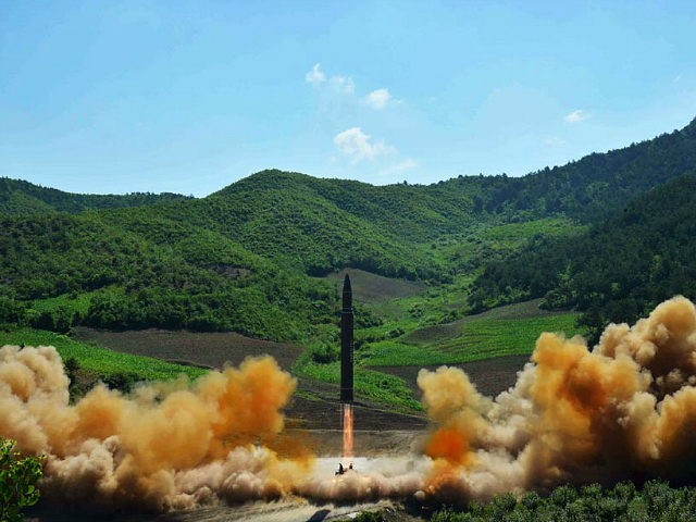 This picture taken and released on July 4, 2017 by North Korea's official Korean Central News Agency (KCNA) shows the test-fire of the intercontinental ballistic missile Hwasong-14 at an undisclosed location. North Korea declared on July 4 it had successfully tested its first intercontinental ballistic missile -- a watershed moment …