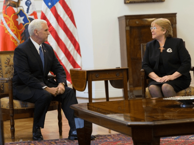 Vice President Mike Pence and President of Chile, Michelle Bachelet