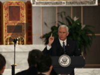 DORAL, FL - AUGUST 23: Vice President Mike Pence speaks about the ongoing crisis in Venezuela at Our Lady of Guadalupe Catholic Church on August 23, 2017 in Doral, Florida. Vice President Pence also met with members of the Venezuelan exile community to discuss the political crisis in the South …