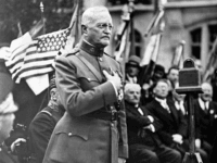 General John J Pershing makes a speech during the ceremony of planting an oak tree named after him to celebrate his 75th birthday and the 17th anniversary of the battle of St Mihiel, France on September 15, 1935. (AP Photo)