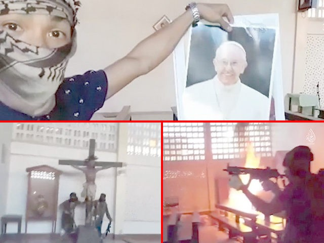 Images from an Islamic State propaganda video showing Islamic terrorists destroying a Christian church and a crucifix while pointing