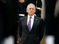 Defense Secretary Jim Mattis stands as he waits for Netherlands Minister of Defense Jeanine Hennis-Plasschaert during an enhanced honor cordon at the Pentagon, Tuesday, Aug. 15, 2017, in Washington. (AP Photo/Alex Brandon)