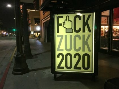 Posters taking aim at Mark Zuckerberg's political ambitions were put up by street artist Sabo in California