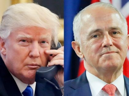 This combination of file photos shows, from left to right: U.S. President Donald Trump on Jan. 28, 2017, and Australian Prime Minister Malcolm Turnbull on Nov. 20, 2016. Turnbull made fun of both Trump and the Australian government's dismal opinion polls during a lighthearted speech on Wednesday night at an …