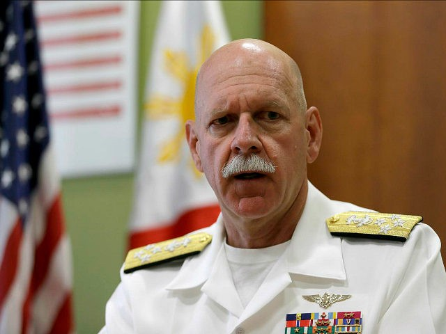 U.S. Pacific Fleet Commander Adm. Scott Swift talks during an interview with journalists Friday, July 17, 2015 in Manila, Philippines. The new U.S. commander of the Pacific Fleet has assured allies that American forces are well-equipped and ready to respond to any contingency in the South China Sea, where long-seething …