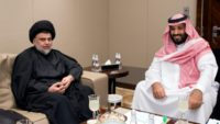 A handout picture provided by the Saudi Royal Palace on July 30, 2017 shows Crown Prince Mohammed bin Salman (R) receiving prominent Iraqi Shiite cleric Moqtada al-Sadr in Jeddah