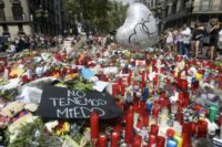 Flowers, candles, balloons have been laid on Las Ramblas in Barcelona in memory of the victims of the two attacks in Spain last week that have killed 15 people