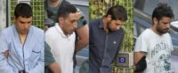 Picture combo created on August 22 shows (L to R) Mohamed Houli Chemlal, Driss Oukabir, Salah El Karib and Mohamed Aallaa, suspected of involvement in the Barcelona terror cell, being escorted from a detention center in Tres Cantos, near Madrid