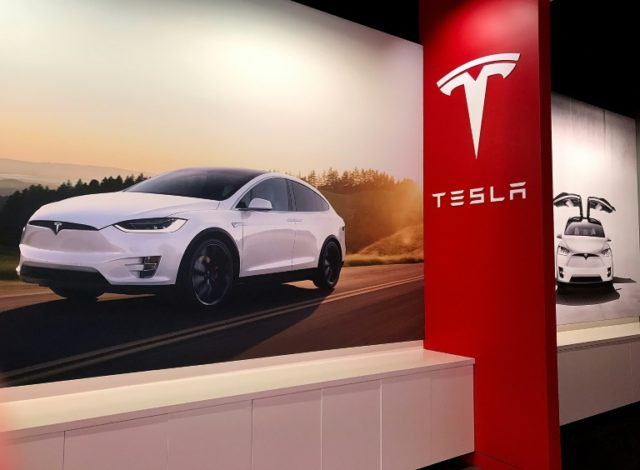 The Tesla Model X  displayed at a showroom in Corte Madera, California