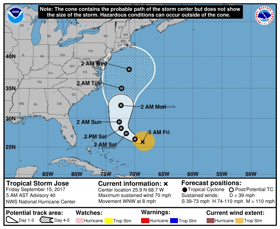 Tropical Storm Jose continues threat of flooding, moves further into Atlantic