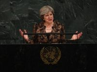 British Prime Minister Theresa May addresses the 72nd UN General Assembly on September 20, 2017, at the United Nations in New York. / AFP PHOTO / TIMOTHY A. CLARY (Photo credit should read TIMOTHY A. CLARY/AFP/Getty Images)