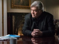 "Steve Bannon, executive chairman of Breitbart News, speaks with CBS News' Charlie Rose for a 60 Minutes interview in the ""Breitbart Embassy"" in Washington, DC, September 6, 2017."