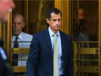 Anthony Weiner, a former Democratic congressman, leaves Federal Court in New York on Monday after being sentenced for 21-months for sexting with a 15-year-old girl. Timothy A. Clary / AFP - Getty Images