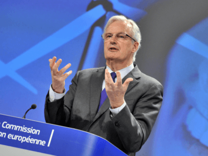 EU commissioner for Internal Market and Services Michel Barnier gives a press conference focused on the Commission roadmap to meet the long-term financing needs of the European economy on March 27, 2014 at the EU Headquarters in Brussels.