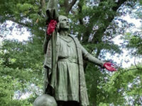Vandals on Tuesday defaced a statue of Italian explorer Christopher Columbus sitting in New York City's famed Central Park.