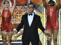 Host Stephen Colbert dances onstage during the 69th Emmy Awards at the Microsoft Theatre on September 17, 2017 in Los Angeles, California. / AFP PHOTO / Frederic J. Brown (Photo credit should read FREDERIC J. BROWN/AFP/Getty Images)