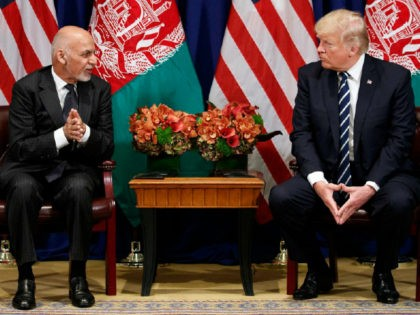"President Trump met with Afghan President Ashraf Ghani during the United Nations General Assembly in New York. Ghani praised Trump's new strategy in Afghanistan, saying it has made a ""difference of day and night."" (AP Photo/Evan Vucci)"