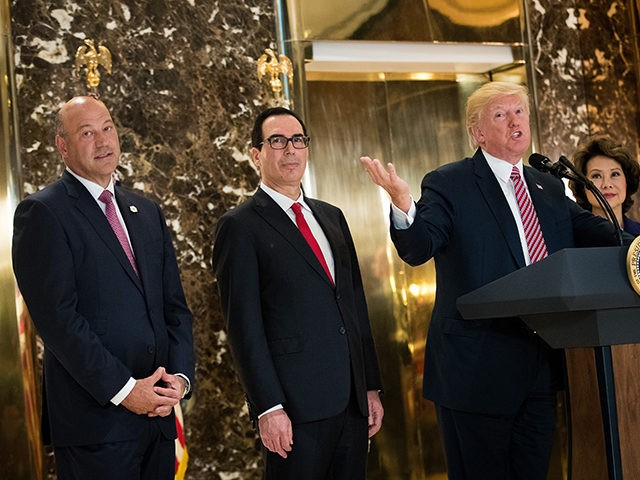 NEW YORK, NY - AUGUST 15: President Donald Trump delivers remarks following a meeting on infrastructure at Trump Tower, August 15, 2017 in New York City. Standing alongside him from L to R, Director of the National Economic Council Gary Cohn, Treasury Secretary Steve Mnuchin, and Transportation Secretary Elaine Chao. …
