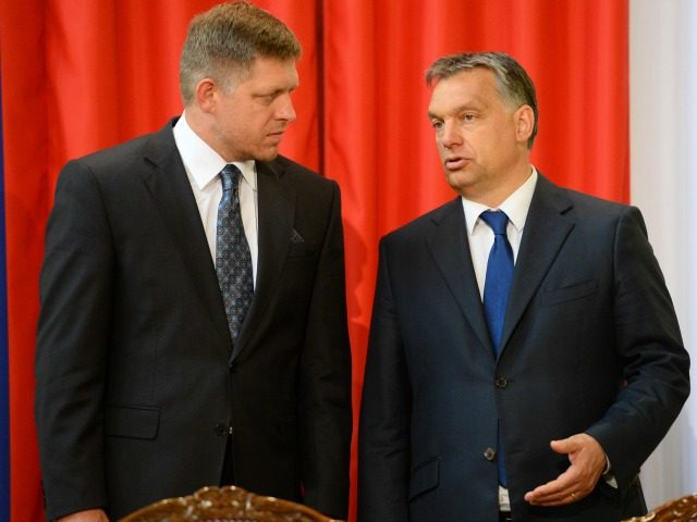 Slovakian Prime Minister Robert Fico (L) chats with his Hungarian counterpart Viktor Orban (R) in Delegation Hall of the parliament building in central Budapest on July 2, 2013 prior to their joint press conference. Orban meets with Fico for his one-day working visit. AFP PHOTO / ATTILA KISBENEDEK (Photo credit …
