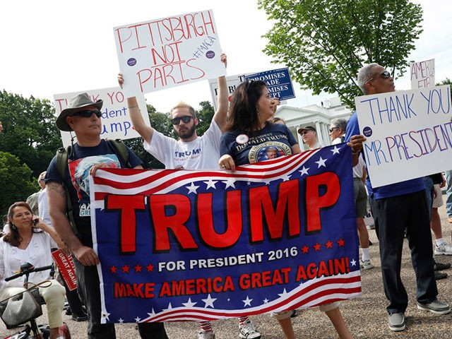 WASHINGTON, DC - JUNE 3: Demonstrators gather outside the White House to show support for President Donald Trump on June 3, 2017 in Washington, D.C. President Trump recently withdrew the United States from the Paris Climate Accord in hopes of growing jobs and cutting regulations. (Photo by Aaron P. Bernstein/Getty …