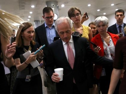 WASHINGTON, DC - JULY 26: U.S. Sen. Bob Corker (R-TN) talks with reporters as he walks to the U.S. Capitol on July 26, 2017 in Washington, DC. Sen. Corker was one of nine republican senators to vote against the health care bill in the Senate. The U.S. Senate will continue debate on the Better Care Reconciliation Act. (Photo by Justin Sullivan/Getty Images)