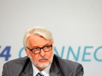 Witold Waszczykowski, Minister of Foreign Affairs of Poland, speaks at a press conference after a meeting of Foreign Ministers of the Visegrad 4 group including the Czech Republic, Hungary, Poland and Slovakia, with representatives from Armenia, Azerbaijan, Belarus, Georgia, Moldova, the Ukraine and Estonia, on August 31, 2017 in Budapest, …