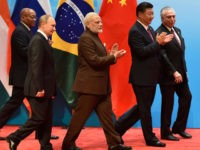 From L-R: Brazilian President Michel Temer, Chinese President Xi Jinping, Indian Prime Minister Narendra Modi, Russian President Vladimir Putin, and South Africa's President Jacob Zuma attend the BRICS Business Council and Signing ceremony at the BRICS Summit in Xiamen on September 4, 2017. Leaders of the BRICS grouping of emerging …