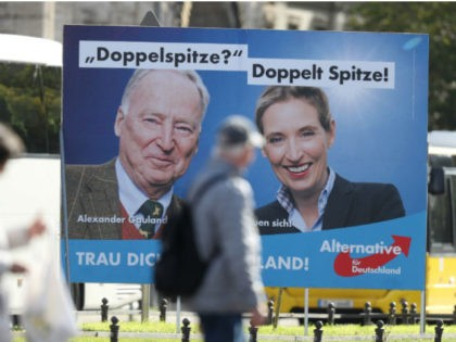 BERLIN, GERMANY - SEPTEMBER 15: An election campaign poster that shows Alice Weidel and Alexander Gauland, co-lead candidates of the right-wing, populist Alternative for Germany (AfD) political party, stands on September 15, 2017 in Berlin, Germany. Germany will hold federal elections on September 24. The AfD currently has approximately 12% …