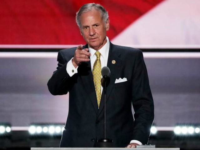 Lt. Gov. of South Carolina, Henry McMaster checks the mic sound on stage prior to the start of the second day of the Republican National Convention on July 19, 2016 at the Quicken Loans Arena in Cleveland, Ohio. An estimated 50,000 people are expected in Cleveland, including hundreds of protesters …