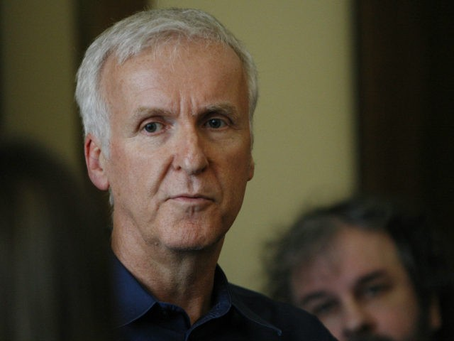 In this Jan. 14, 2015, file photo, movie director James Cameron talks to reporters at an event to promote the New Zealand film industry in Wellington, New Zealand. (AP Photo/Nick Perry, File