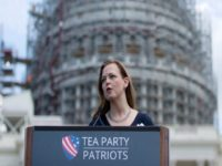 Jenny Beth Martin, president and co-founder of the Tea Party Patriots speaks during a rally organized by Tea Party Patriots on Capitol Hill in Washington, Wednesday, Sept. 9, 2015, to oppose the Iran nuclear agreement. (AP Photo/Carolyn Kaster)