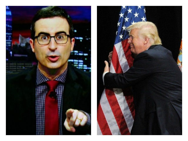 John Oliver and Donald Trump hugging flag collage