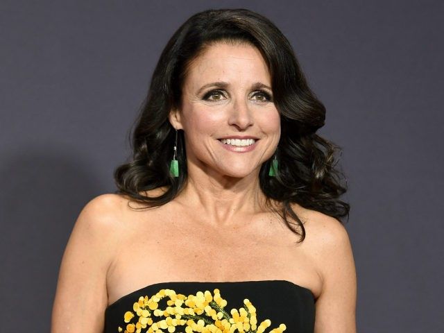 Julia Louis-Dreyfus arrives at the 69th Primetime Emmy Awards in Los Angeles. Louis-Dreyfus says she has been diagnosed with breast cancer.