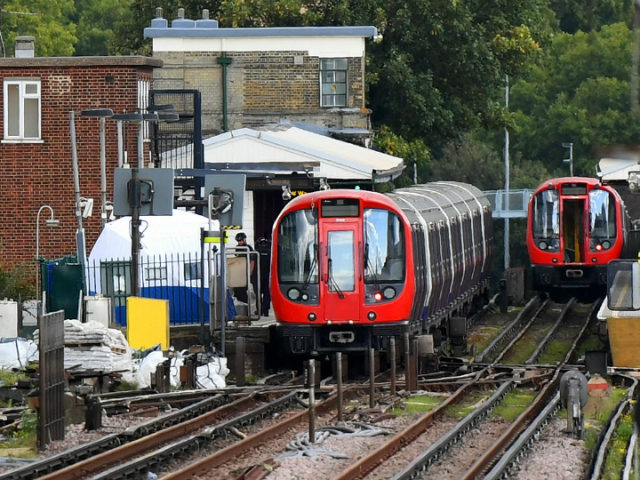 A forensic tent is seen next to the stopped tube train at Parsons Green Underground Station on September 15, 2017 in London, England. Several people have been injured after an explosion on a tube train in south-west London. The Police are treating the incident as terrorism. (Photo by Chris J …