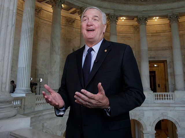 FILE - In this March 3, 2017 file photo, Sen. Luther Strange, R-Ala., who replaced Attorney General Jeff Sessions in the Senate, does a TV interview on Capitol Hill in Washington. President Donald Trump is endorsing Alabama Sen. Luther Strange in a special primary election next week. The presidential endorsement …