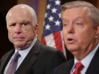 Sen. John McCain (R-AZ) (L) and Sen. Lindsey Graham (R-SC) hold a news conference to say they would not support a 'Skinny Repeal' of health care at the U.S. Capitol July 27, 2017 in Washington, DC. The Republican senators said they would not support any legislation to repeal and replace …