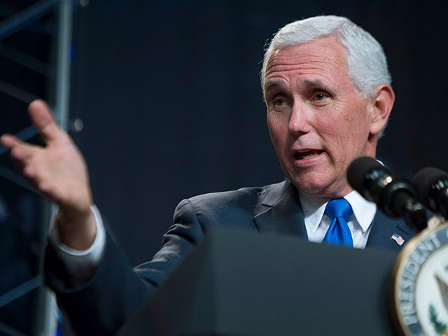 HOUSTON, TX - JUNE 07: In this handout provided by the National Aeronautics and Space Administration (NASA), U.S. Vice President Mike Pence delivers remarks during an event where NASA introduced 12 new astronaut candidates on June 7, 2017 at NASA's Johnson Space Center in Houston, Texas. After completing two years …