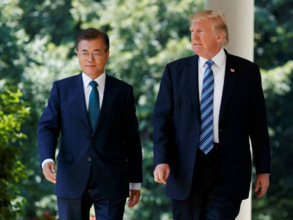 In this June 30, 2017, file photo, U.S. President Donald Trump walks with South Korean President Moon Jae-in to make statements in the Rose Garden of the White House in Washington. Six months into his presidency, Donald Trump has made clear who he considers to be his friends, and his …
