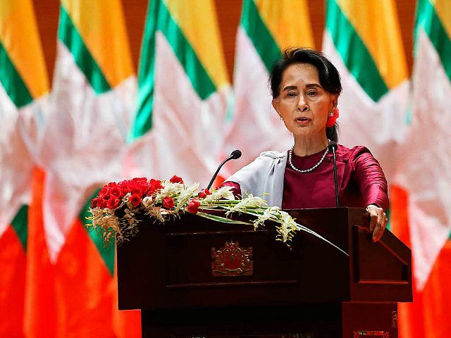 Myanmar's State Counsellor Aung San Suu Kyi delivers a national address in Naypyidaw on September 19, 2017. Aung San Suu Kyi said on September 19 she 'feels deeply' for the suffering of 'all people' caught up in conflict scorching through Rakhine state, her first comments on a crisis that also mentioned Muslims displaced by violence. / AFP PHOTO / Ye Aung THU (Photo credit should read YE AUNG THU/AFP/Getty Images)