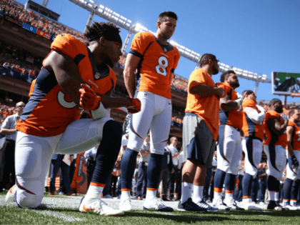 DENVER, CO - SEPTEMBER 18: Inside linebacker Brandon Marshall #54 of the Denver Broncos takes a knee during the National Anthem before the game against the Indianapolis Colts at Sports Authority Field Field at Mile High on September 18, 2016 in Denver, Colorado. (Photo by Justin Edmonds/Getty Images) nfl