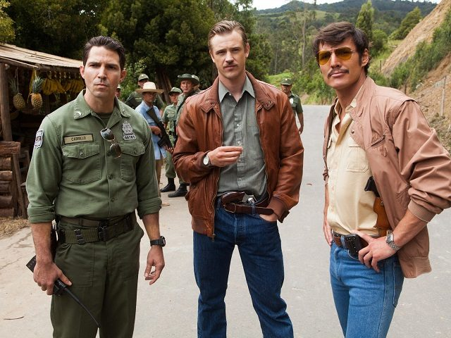 Narcos tells the story of the hunt for Pablo Escobar — a hunt in which DEA agents Steve Murphy (Boyd Holbrook, center) and Javier Peña (Pedro Pascal, right) worked closely with Colombian police. (Also pictured: Maurice Compt