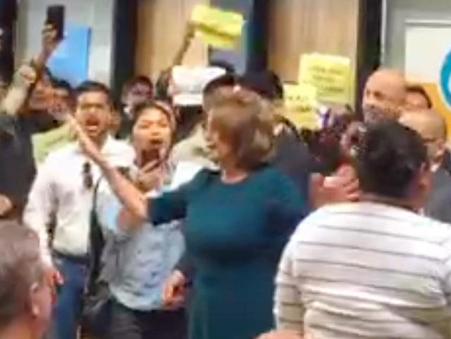 Pelosi DACA protest (Screen shot / Andrés Brender / Periscope)